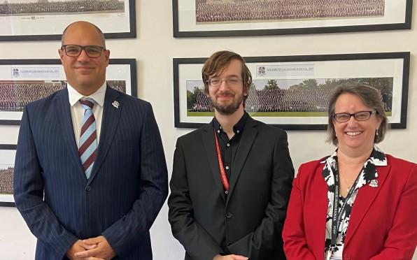 Left to right: Headmaster Mark Sturgeon, Olly Clark-Darby and Nicky Farmborough