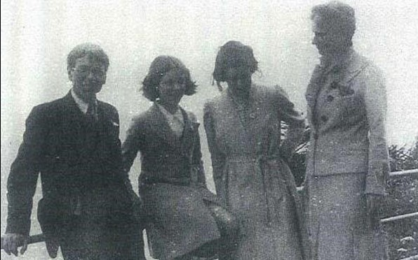 Stanley Spencer with Unity, Shirin and Hilda Carline on the terrace at The Tors