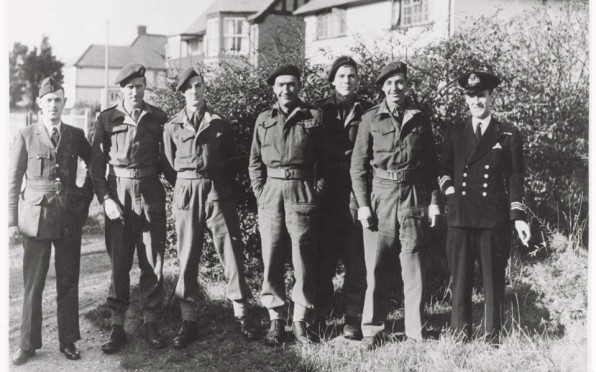 Courtney (centre) with No.2 Special Boat Section in 1943. (Photo by J P Foot from NAM collection)