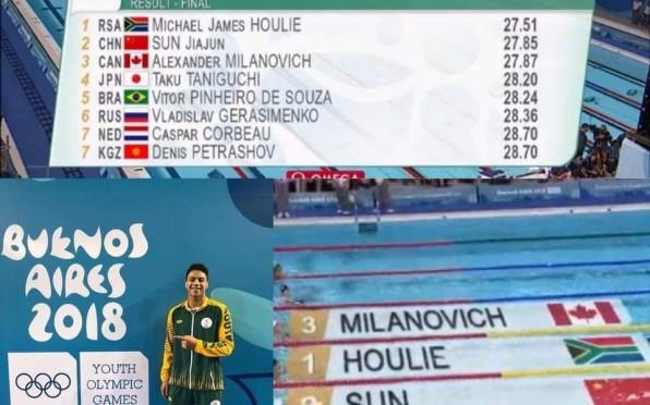 Michael Houlie winning Gold