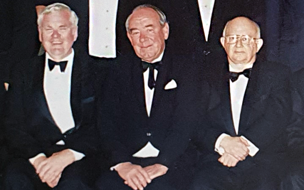 John Charlton, Phil Taylor and Angus Bean at the class of 1954 reunion in 1994