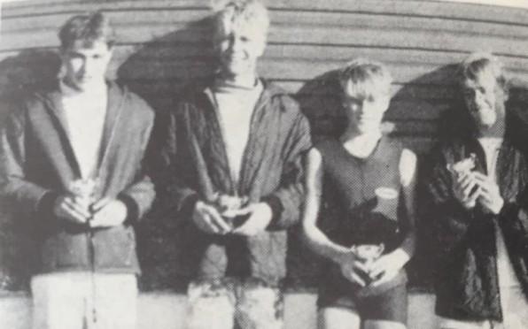 1966 Senior surfing team. Left to right: Peter Whipp; Mike Godfrey; Edward Godfreyand Piers Pittard