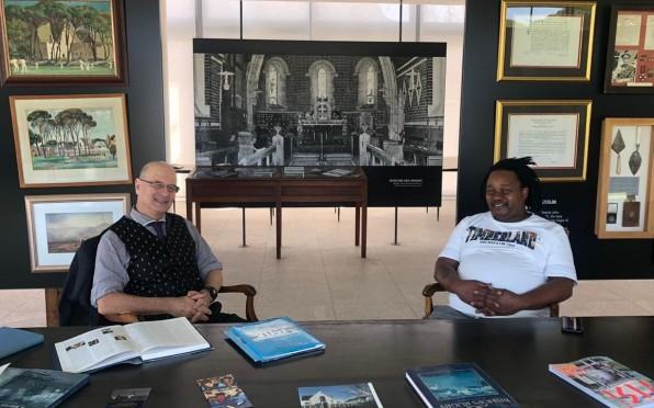 Dr Paul Murray (Bishops Archivist) and Zama Jimba (1994S)