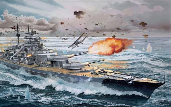 An artist's depiction of Fairey Swordfish torpedo bombers attacking the Bismarck