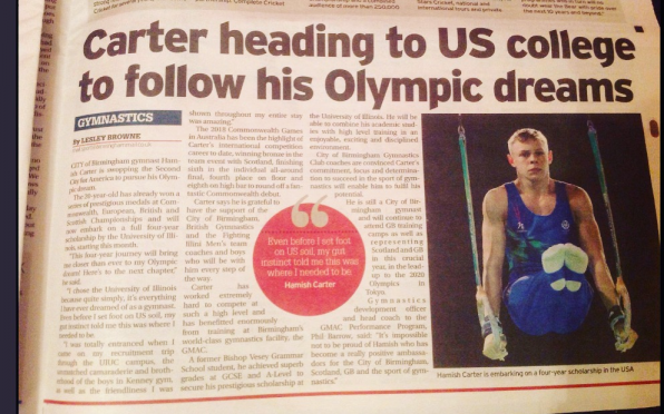Article from last week's Birmingham Mail featuring OV 2017 Hamish Carter