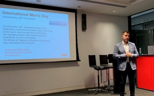 Nigel Owens presenting on International Mens Day