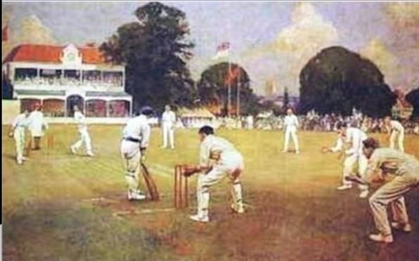 Albert Chevallier Tayler's painting of Kent v Lancashire in 1906