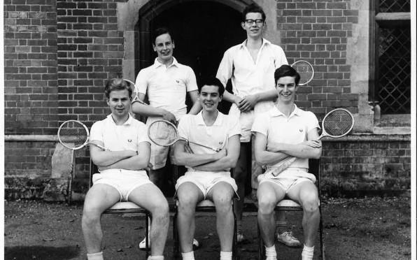 Unbeaten 1963 Squash team of JDS Cumming, AJ Spicer, ID Stevens, JD Wyatt, CJ Gorringe