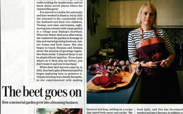 Frankie Fox preparing beetroot products at home