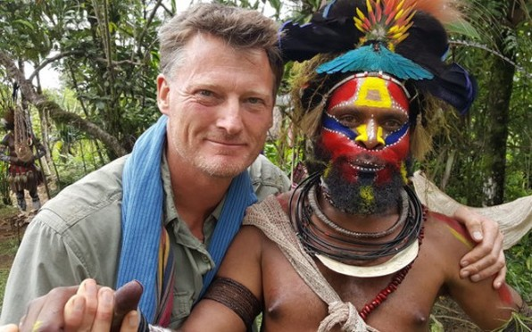Benedict Allen with friend in Papua New Guinea