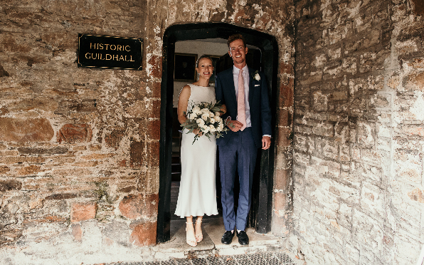 Simon and Ellie married on 10.10.20 at Totnes Guildhall