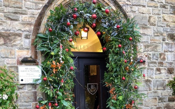 Brambletye's front door adorned with festive cheer