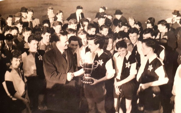 OC Alan Hailes (3960 - Left Half) with the rest of the 1957 Campbell College team