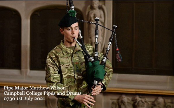Matthew Wilson, Pipe Major of the Campbell College Pipes and Drums plays The Battle's O'er at 0730 t