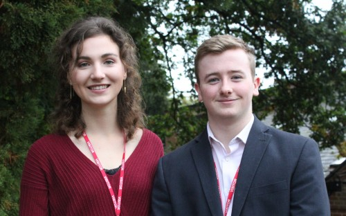 Sophie Stiewe and James Clarke after speaking at the Sixth Form assembly
