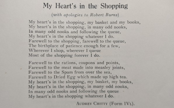 Poem written by Audrey Chitty, Form 4L, 1946