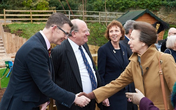 Headmaster Mr Jeremy McCullough is introduced to the Princess Royal