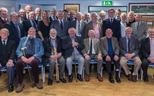 Brian Smith at the seniors' Christmas lunch in December 2014 (front row third from left)