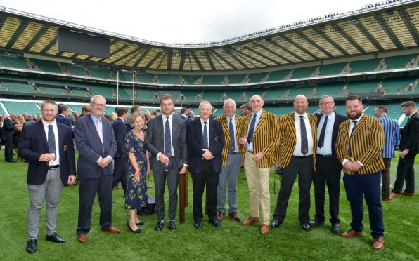 Fergus Manners, his family and OCRFC club member at Twickenham