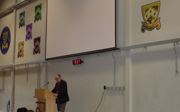 Detective Inspector speaks at assembly