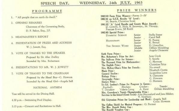 Speech Day 1963 programme, Colin Howson Head Boy