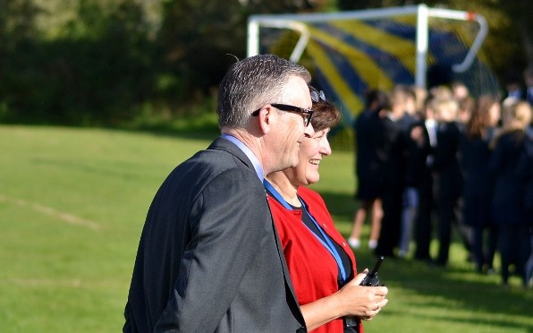 Mr Bush and Mrs Wainwright seen here at a whole school photo shoot