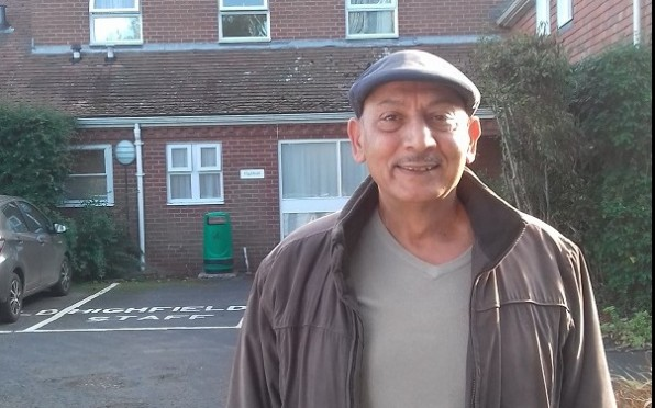 Jamal outside his old boarding house Highfields