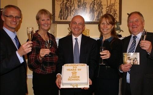 Three former Lower School Heads celebrate with Mr Hawkins
