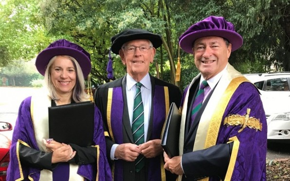 Bruce with the Chancellor and Vice-Chancellor of Winchester University