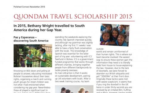 Quondam Travel Scholarship report