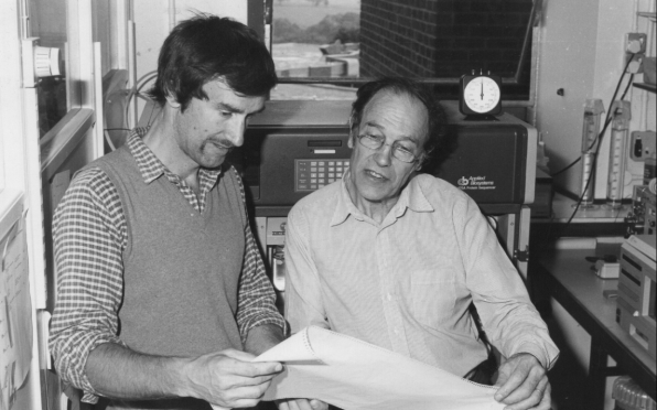 1986: Michael Geisow (left) shows Michael Green the first annexin amino acid sequences