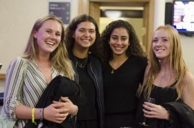 Recent leavers enjoying the drinks reception at Prize Giving