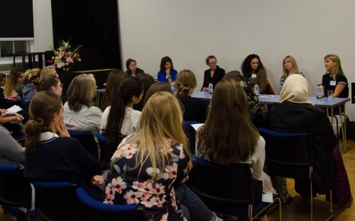 One of many panel discussions at careers fair