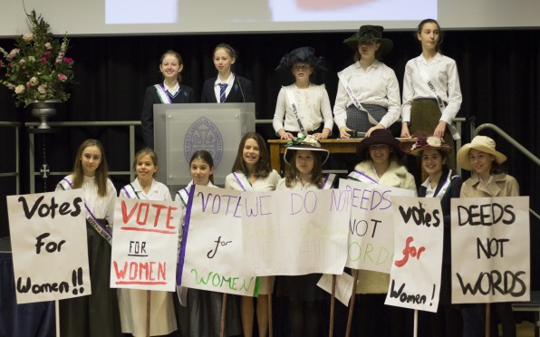 Pupils reenacting the suffragette movement