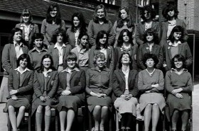Prudence Scrivener (front centre) and pupils