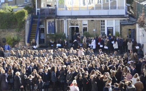 The school congregates for Remembrance