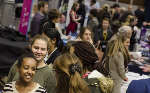 This year's Careers Fair filled the School Hall with students