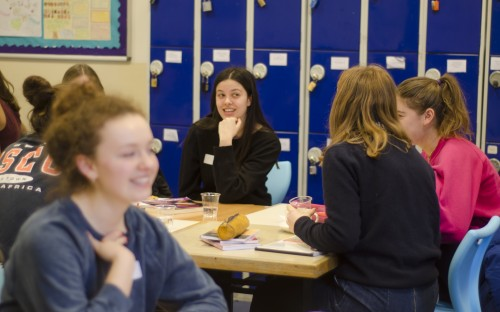 Girls from both schools discuss revision topics