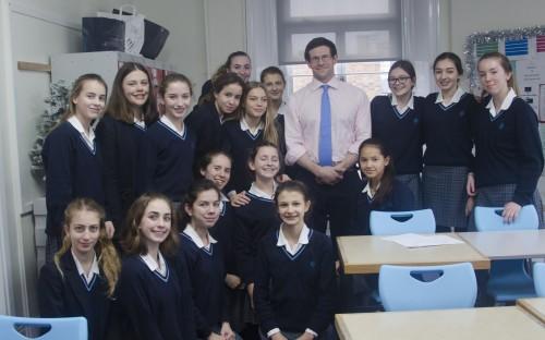 Dr Bennett with pupils