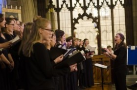 The joint choir performs