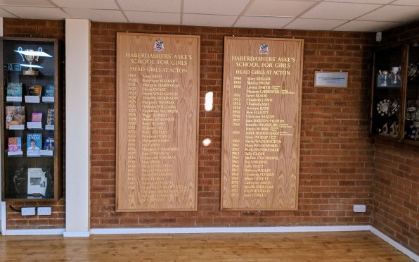 The new boards on display in Prevett Hall and positioned opposite the Elstree boards.