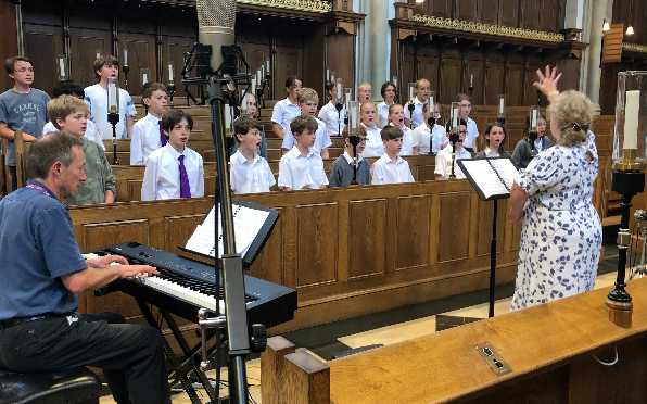 The choristers in rehearsal for Richard Gracey's memorial at Tonbridge Chapel