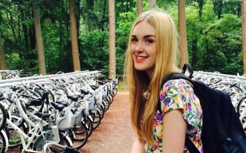 Jasmine enjoying the bikes on the Hills Road Art Trip to Amsterdam