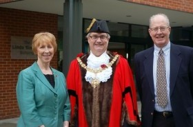 Linda Sinclair with the Mayor of Cambridge and Pete Southwick, Chair of Governors