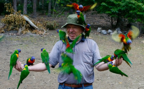 Les enjoying nature and taming the wildlife in Australia