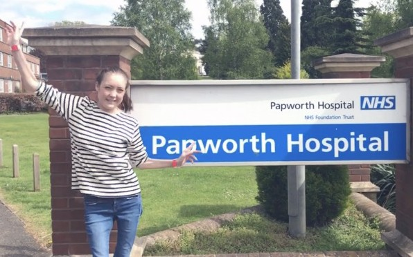 Pippa outside Papworth Hospital
