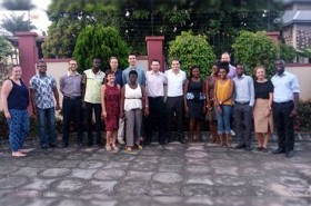 Rosie with fellow volunteers from the UK and Ghana, team leaders, and Challenges Worldwide staff
