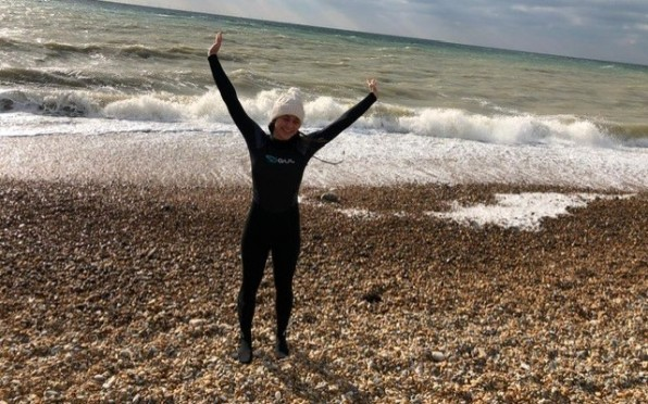 OJ Ione Searle on her first charity outdoor swim.