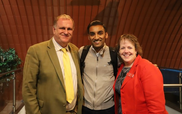 Neal Abdool with Hurst staff members Tim and Jan Leeper