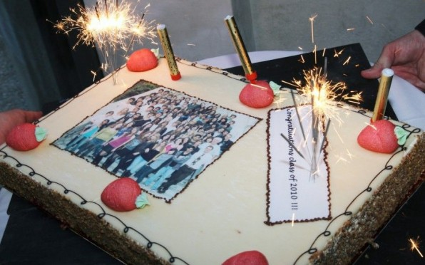 The PTA generously donated a raspberry cake with the Class of 2010 students' photo printed on it.